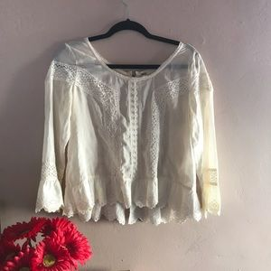 Free People Tops - Free People Tan Peasant Blouse W Back Zipper Small
